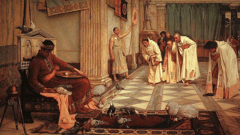 Cuadro prerafaelista que muestra, de una manera idealizada, las ocupaciones del emperador Honorio