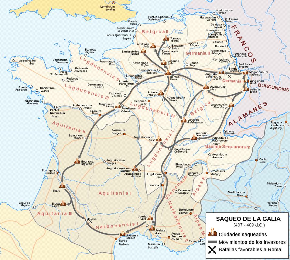Mapa con las rutas de saqueo que siguieron vándalos, suevos y alanos