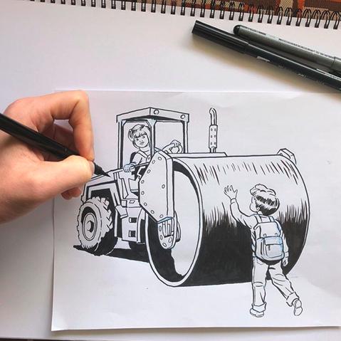 Steven Rhodes trabajando en una de sus ilustraciones.