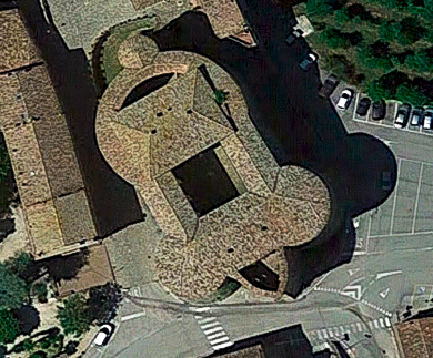 Vista cenital del castillo de Sassocorvaro